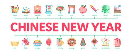 Chinese New Year Feast Minimal Infographic Web Banner Vector. Chinese Traditional Hat And Clothes, Dragon And Gate, Lantern And Fireworks Illustration  イラスト・ベクター素材