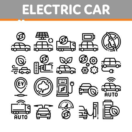 Electric Car Transport Collection Icons Set Vector. Electrical Car And Truck, Battery Charging And Vehicle Repair, Ecology Transportation Concept Linear Pictograms. Monochrome Contour Illustrations