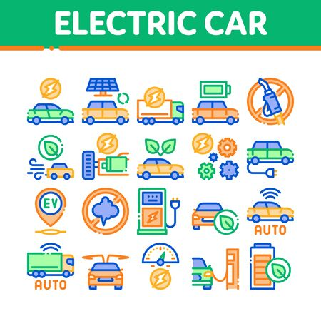 Electric Car Transport Collection Icons Set Vector. Electrical Car And Truck, Battery Charging And Vehicle Repair, Ecology Transportation Concept Linear Pictograms. Color Illustrations