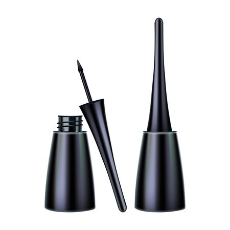 Eyeliner Brush And Package Makeup Tool Set Vector. Collection Of Open And Close Cap Eyeliner Pack, Eyes Ink Cosmetologist Product. Woman Beauty Accessory Template Realistic 3d Illustrations
