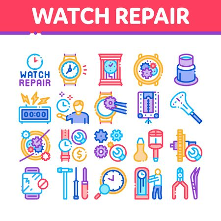 Watch Repair Service Collection Icons Set Vector. Watch Change Display Glass And Mechanical Gear, Instrument And Magnifier Concept Linear Pictograms. Color Illustrations
