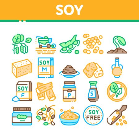 Soy Bean Food Product Collection Icons Set Vector. Agricultural Harvester Harvesting On Farm And Milk Package, Soy Sauce Bottle And Plant Concept Linear Pictograms. Color Illustrations
