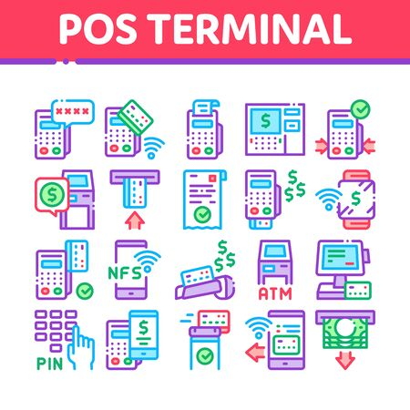 Pos Terminal Device Collection Icons Set Vector. Bank Terminal And Atm, Smartphone Nfc Pay System Application And Watch Pin Code And Money Concept Linear Pictograms. Color Illustrations