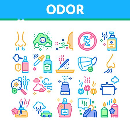 Odor Aroma And Smell Collection Icons Set Vector. Nose Breathing Aromatic Odor And Clean Air, Perfume And Oil Bottle, Facial Mask And Candle Concept Linear Pictograms. Color Illustrations
