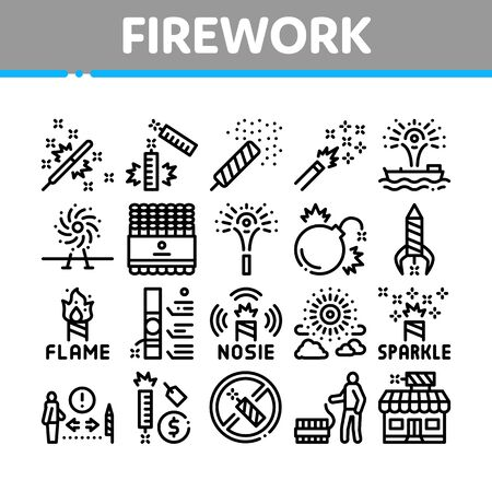 Firework Pyrotechnic Collection Icons Set Vector. Flash rocket And Salute, Christmas Explosive Firework And Festival Lights, Concept Linear Pictograms. Monochrome Contour Illustrations