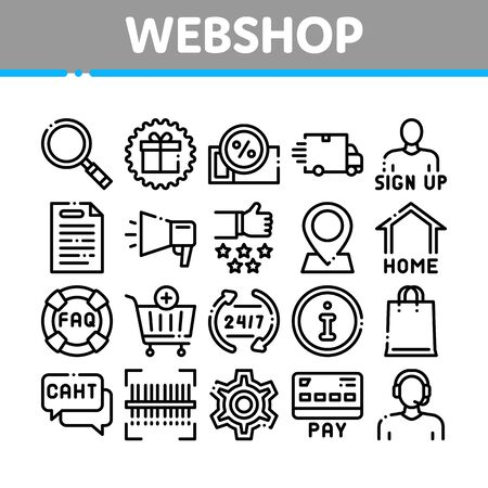 Webshop Internet Store Collection Icons Set Vector. Webshop Online Shop Coupon And Buy, Chat And Faq, Information And Pay Concept Linear Pictograms. Monochrome Contour Illustrations
