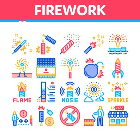Firework Pyrotechnic Collection Icons Set Vector. Flash rocket And Salute, Christmas Explosive Firework And Festival Lights, Concept Linear Pictograms. Color Illustrations