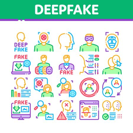 Deepfake Face Fake Collection Icons Set Vector. Human Face Research And Change, Computer Video Analysis And Downloading Image Concept Linear Pictograms. Color Illustrations  イラスト・ベクター素材