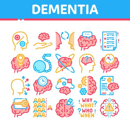 Dementia Brain Disease Collection Icons Set Vector. Dementia Mind Degenerative Illness, Memory Loss And Poor Speech Pronunciation Concept Linear Pictograms. Color Illustrations
