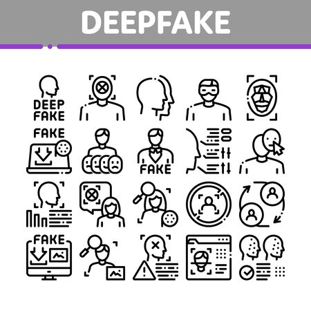 Deepfake Face Fake Collection Icons Set Vector. Human Face Research And Change, Computer Video Analysis And Downloading Image Concept Linear Pictograms. Monochrome Contour Illustrations