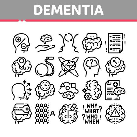 Dementia Brain Disease Collection Icons Set Vector. Dementia Mind Degenerative Illness, Memory Loss And Poor Speech Pronunciation Concept Linear Pictograms. Monochrome Contour Illustrations