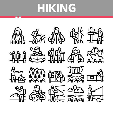 Hiking Extreme Tourism Collection Icons Set Vector. Hiking Tourist And Bard With Guitar, Fisherman And Photographer, Camp And Waterfall Concept Linear Pictograms. Monochrome Contour Illustrations