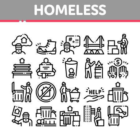 Homeless Beggar People Collection Icons Set Vector. Homelessness And Shoe, Living On Streets Poor Human, Trash And Abandon Concept Linear Pictograms. Monochrome Contour Illustrations
