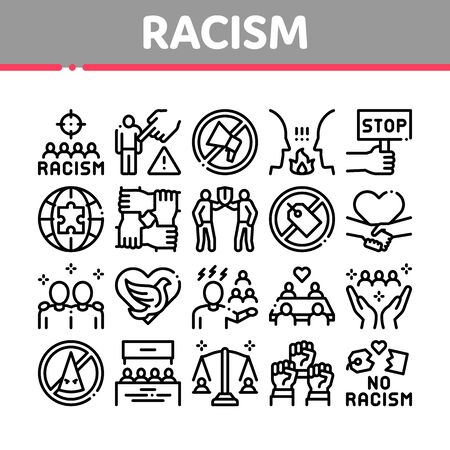 Racism Discrimination Collection Icons Set Vector. Stop Racism Nameplate And Label, Scale And Loudspeaker, Pigeon And Handshake Concept Linear Pictograms. Monochrome Contour Illustrations