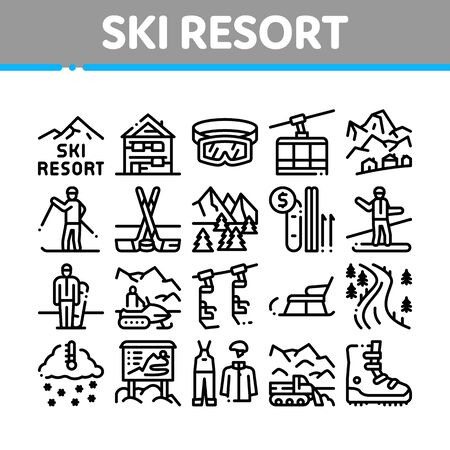 Ski Resort Vacation Collection Icons Set Vector. Ski Snow Track And Shoe, Protective Glasses And Sled, Chairlift Cableway And Cabin Concept Linear Pictograms. Monochrome Contour Illustrations