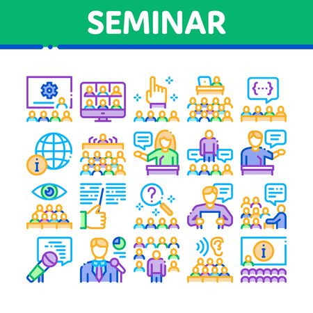 Seminar Conference Collection Icons Set Vector. Seminar In Meeting Room, Online Communication And Presentation, Speaker And Lector Concept Linear Pictograms. Color Illustrations
