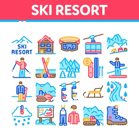 Ski Resort Vacation Collection Icons Set Vector. Ski Snow Track And Shoe, Protective Glasses And Sled, Chairlift Cableway And Cabin Concept Linear Pictograms. Color Illustrations