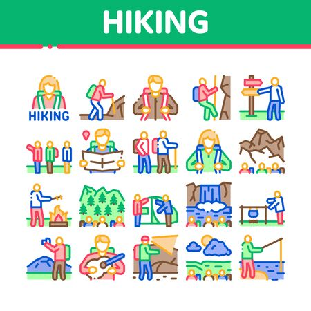 Hiking Extreme Tourism Collection Icons Set Vector. Hiking Tourist And Bard With Guitar, Fisherman And Photographer, Camp And Waterfall Concept Linear Pictograms. Color Illustrations Stock fotó - 150467429