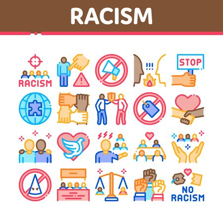 Racism Discrimination Collection Icons Set Vector. Stop Racism Nameplate And Label, Scale And Loudspeaker, Pigeon And Handshake Concept Linear Pictograms. Color Illustrations