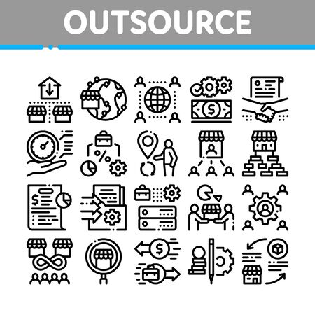 Outsource Management Collection Icons Set Vector. Outsource Team And World Business Process, Agreement Document And Job Payment Concept Linear Pictograms. Monochrome Contour Illustrations