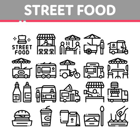 Street Food And Drink Collection Icons Set Vector. Food Truck And Bicycle, Cart And Stand, Burger And Sauce Bottles, Catering Service Concept Linear Pictograms. Monochrome Contour Illustrations Illustration