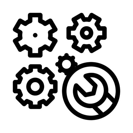 watch gears wrench icon vector. watch gears wrench sign. isolated contour symbol illustration