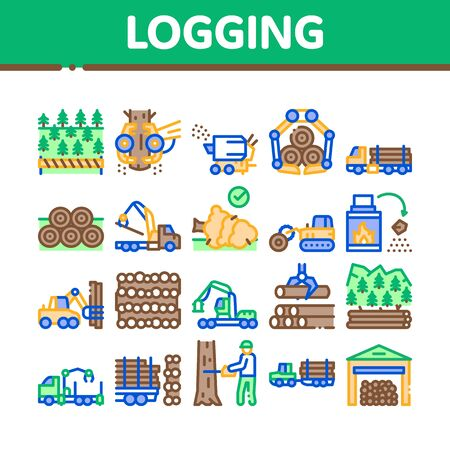 Wood Logging Industry Collection Icons Set Vector. Forest Material Logging Transportation And Storaging, Lumberjack Cutting Tree Concept Linear Pictograms. Color Illustrations