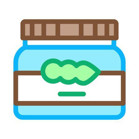 soy beans jar icon vector. soy beans jar sign. color symbol illustration Ilustracja