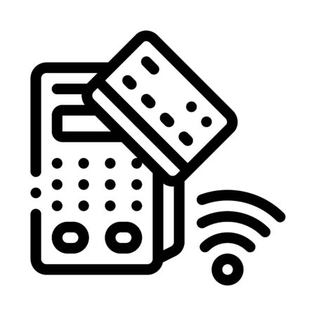 pos terminal and pay pass card icon vector. pos terminal and pay pass card sign. isolated contour symbol illustration