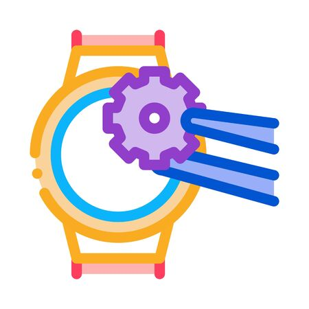 watch change gear icon vector. watch change gear sign. color symbol illustration
