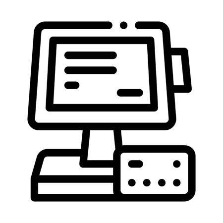 pos terminal display and card icon vector. pos terminal display and card sign. isolated contour symbol illustration Ilustracja