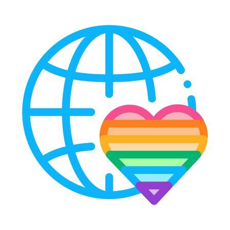 lgbt world free love icon vector. lgbt world free love sign. color symbol illustration