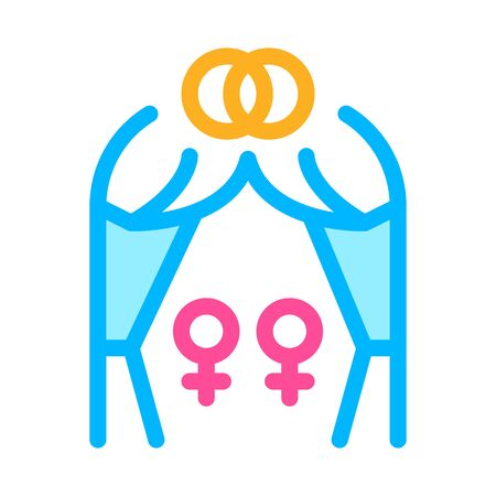 lesbian marriage icon vector. lesbian marriage sign. color symbol illustration