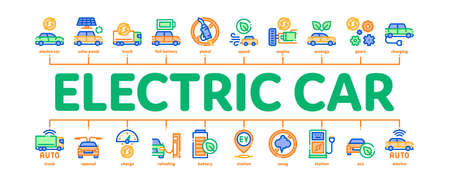 Electric Car Transport Minimal Infographic Web Banner Vector. Electrical Car And Truck, Battery Charging And Vehicle Repair, Ecology Transportation Illustration 向量圖像