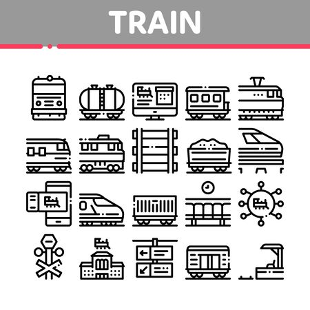 Train Rail Transport Collection Icons Set Vector. Electrical Passenger And Freight Train, Railway Station And Platform, Carriage And Ticket Concept Linear Pictograms. Monochrome Contour Illustrations 일러스트
