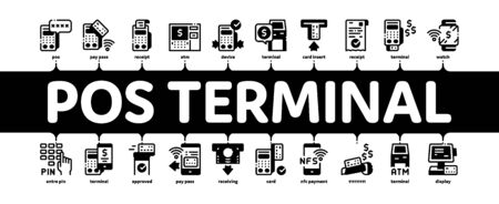 Pos Terminal Device Minimal Infographic Web Banner Vector. Bank Terminal And Atm, Smartphone Nfc Pay System Application And Watch Pin Code And Money Illustration