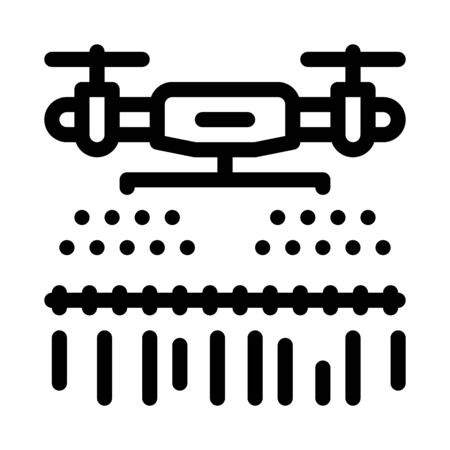 drone watering field icon vector. drone watering field sign. isolated contour symbol illustration