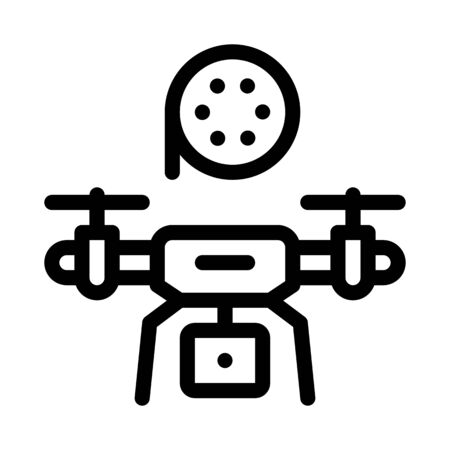 drone record movie icon vector. drone record movie sign. isolated contour symbol illustration