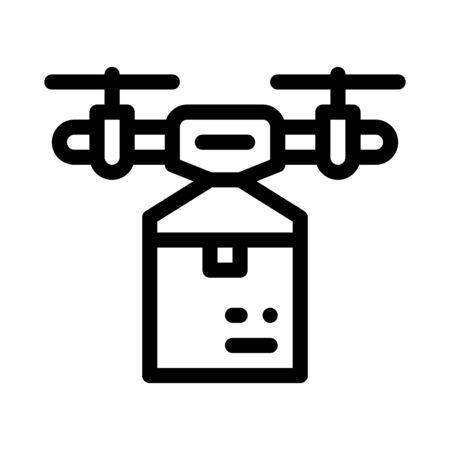 drone box delivering icon vector. drone box delivering sign. isolated contour symbol illustration Ilustracja