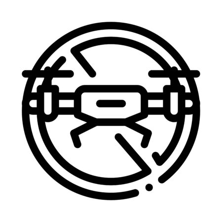 drone crossed out sign icon vector. drone crossed out sign sign. isolated contour symbol illustration Ilustracja