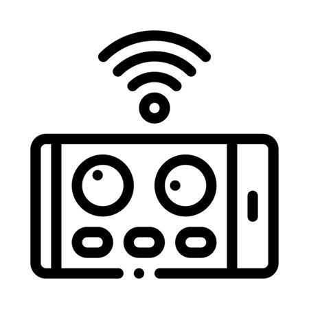 drone phone application remote control icon vector. drone phone application remote control sign. isolated contour symbol illustration Ilustracja