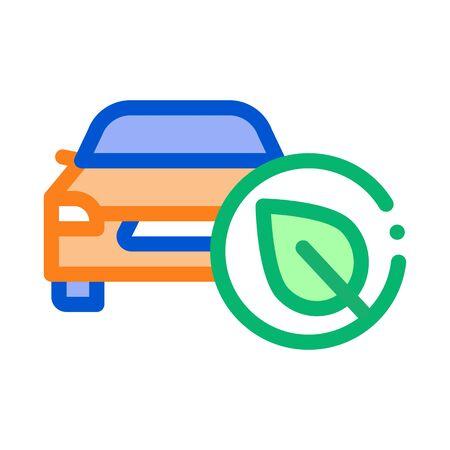 electro eco car icon vector. electro eco car sign. color symbol illustration