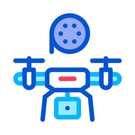 drone record movie icon vector. drone record movie sign. color symbol illustration Ilustracja