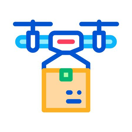 drone box delivering icon vector. drone box delivering sign. color symbol illustration