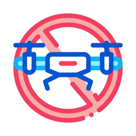 drone crossed out sign icon vector. drone crossed out sign sign. color symbol illustration Ilustracja