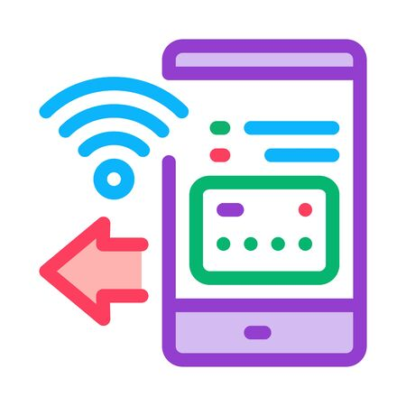 pay pass smartphone app icon vector. pay pass smartphone app sign. color symbol illustration