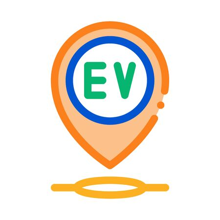 electro chard station gps mark icon vector. electro chard station gps mark sign. color symbol illustration