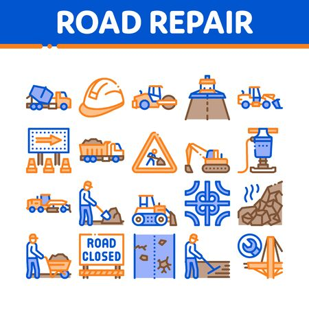 Road Repair And Construction Icons Set Vector. Road Repair And Maintenance Equipment, Builder Protect Helmet And Cart, Bulldozer And Truck Concept Linear Pictograms. Color Illustrations Ilustracja