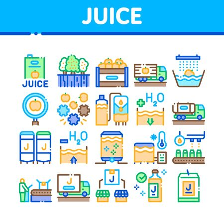 Juice Production Plant Collection Icons Set Vector. Juice Package And Bottle, Fruit In Box And Tree Garden, Factory Conveyor And Packaging Concept Linear Pictograms. Color Illustrations Ilustracja