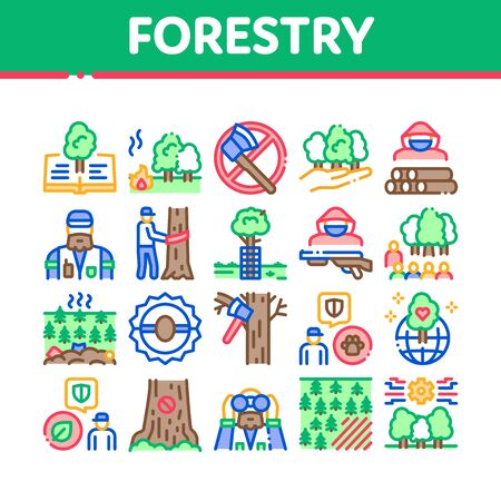 Forestry Lumberjack Collection Icons Set Vector. Forestry Working Equipment And Tree Safe Fence, Animal And Forest Protection Concept Linear Pictograms. Color Illustrations Ilustracja